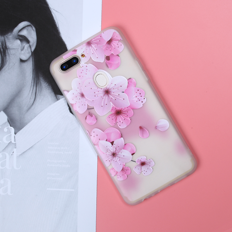 3D Relief Floral Phone Cover For OPPO R11S Plus R9S Plus Transparent Thin Cute Cover For OPPO A39 A59 R11 R9 R9S Case