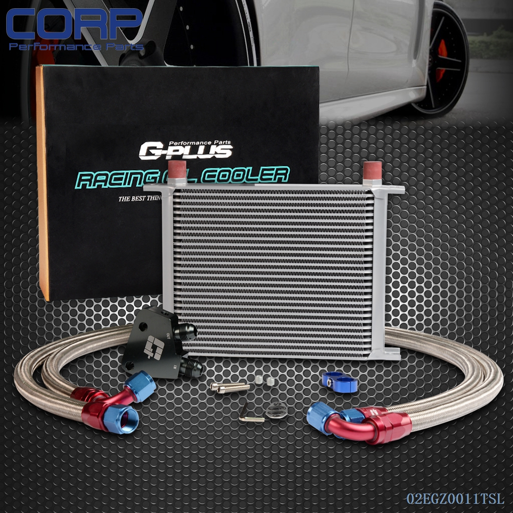 Universal 28 ROW Engine Oil Cooler Kit + Sandwich Plate Fit For LS1 LS2 LS3