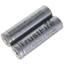 2pcs/lot TrustFire Protected 14500 3.7V 900mAh Rechargeable Battery Lithium Batteries with PCB For Flashlight Torch