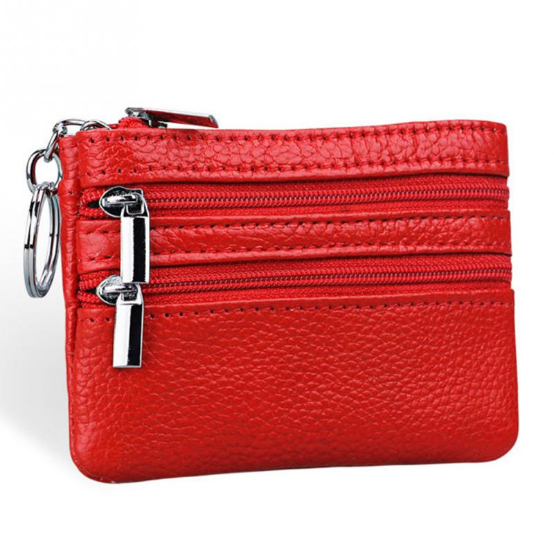 Good Quality Unisex Small Change Bag Women Men PU Leather Key Coin Purse Card Wallet Clutch Zipper Bag 10 Colors For Choice