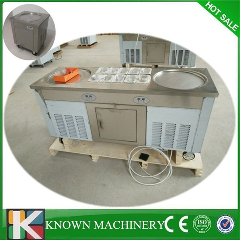 R410 Refrigerant shipping by sea to the airport fried ice cream machine big size pan fry ice cream rolling machine