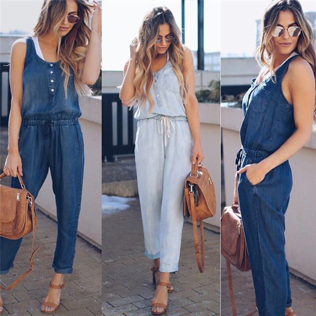 3ef7d8a04db 2018 New Women Summer Solid Sleeveless Denim Jumpsuit Long Trousers  Clubwear Blue Casual Fashion Rompers Trousers Overalls