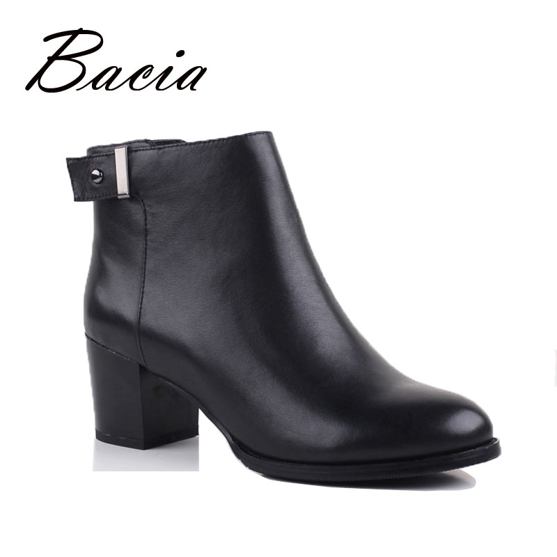 Bacia Fashion Women Boots With Heels Genuine Leather Boots Rubber Sole Ankle Boots With Zipper Short Plush Shoes Boots VB067