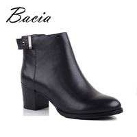 Bacia Fashion Women Boots With Heels Genuine Leather Boots Rubber Sole Ankle Boots With Zipper Short