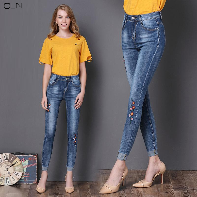 2017 Women's Fashion Casual Embroidered Flower Summer Autumn Winter Style Pencil Jeans College Style Exquisite Craft Plus Size