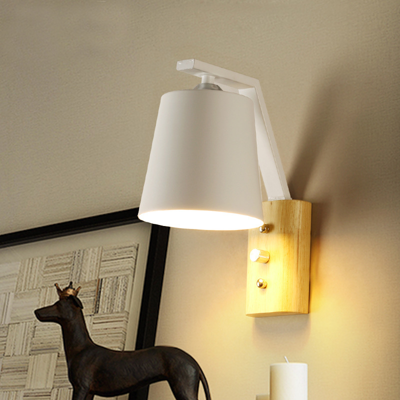 Nordic wall lamp creative simple staircase aisle lamp study bedroom bedside lamp wrought iron solid wood wall lamp AP8291051Nordic wall lamp creative simple staircase aisle lamp study bedroom bedside lamp wrought iron solid wood wall lamp AP8291051
