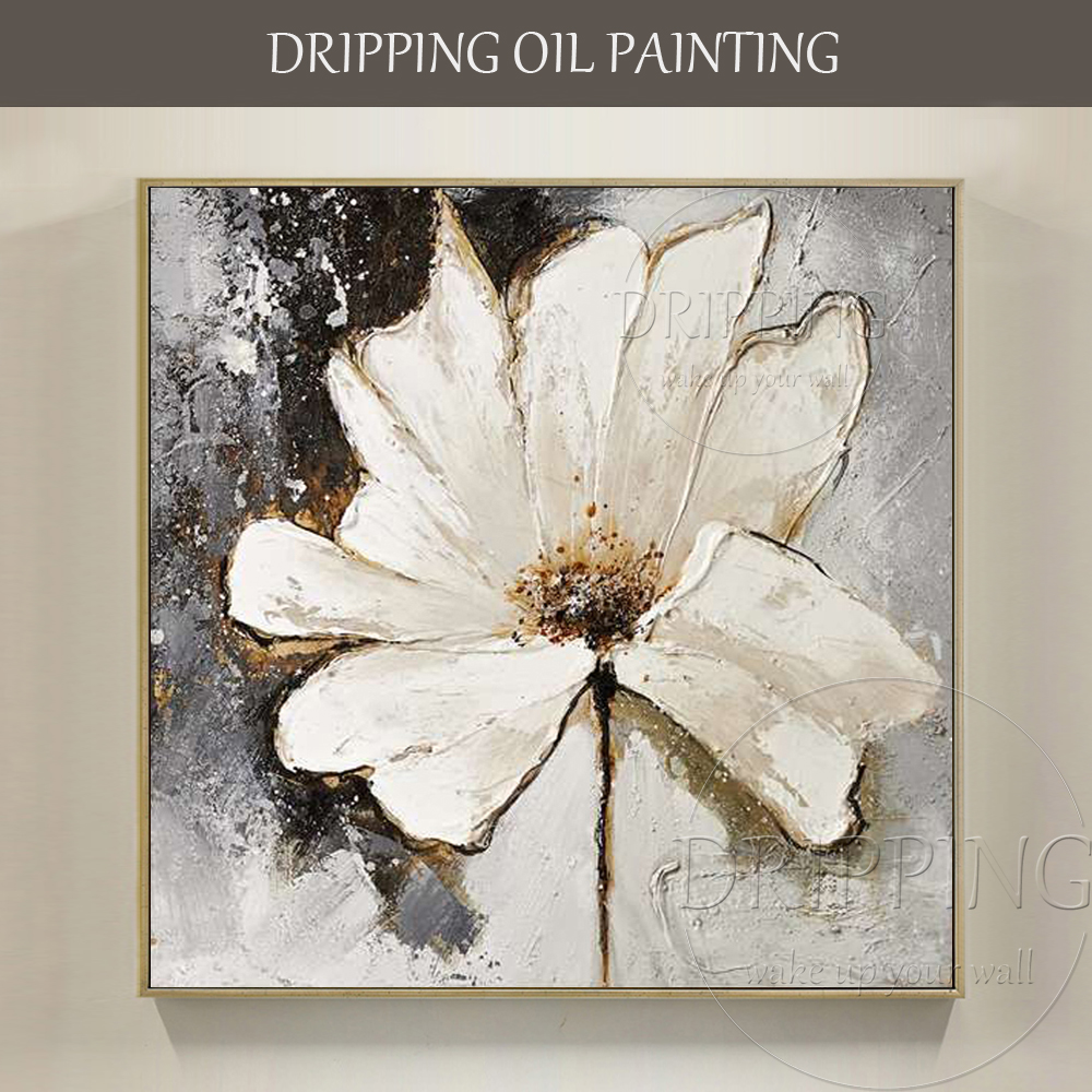 Artist Pure Hand Painted High Quality Gift Craft White Flower Oil