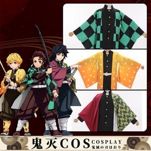 Image 4 - Disfraz de Cosplay de Demon Slayer Kimetsu no Yaiba, capa de Kamado, Tanjirou, Agatsuma, Zenitsu, Tomioka, Giyuu, Haori, hombres, uniformes de capa