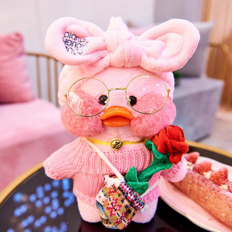 30CM LaLafanfan Cafe Yellow Duck Plush Toy Cute Stuffed Doll Soft Animal Dolls Kids Toys Birthday Gift