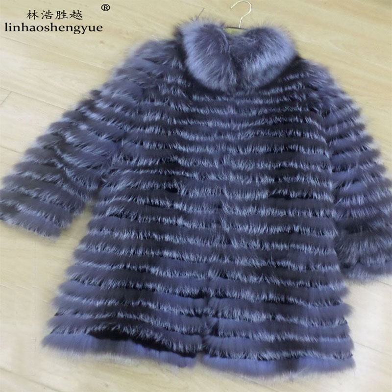 Linhaoshengyue Real Silver Fox Fur Coat  Length 80CM With Collar(China)