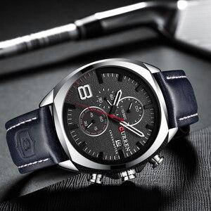 Image 4 - Luksusowa tarcza marki CURREN męski zegarek skórzany z chronografem na pasku Sport zegarki męskie biznes zegarek zegar wodoodporny 30 M 2019