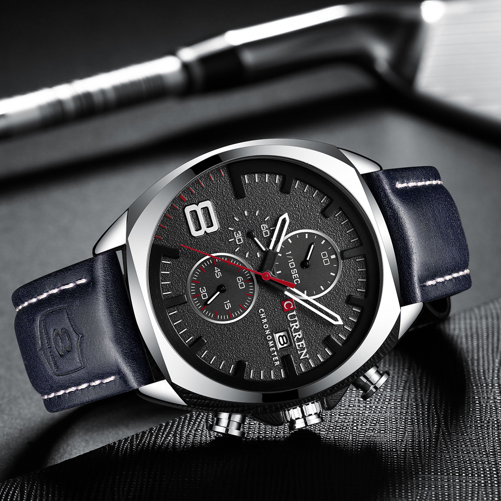 Image 4 - Luxury Top Brand CURREN Mens Watch Leather Strap Chronograph Sport Watches Mens Business Wristwatch Clock Waterproof 30 M 2019Quartz Watches   -