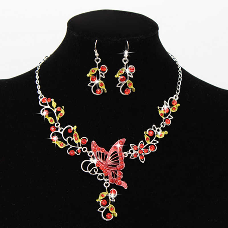 1Set Spring Autumn Butterfly Jewelry Sets Necklace Earring Ring  Jewelry Set For Women Bride Wedding Gifts 5 Colors