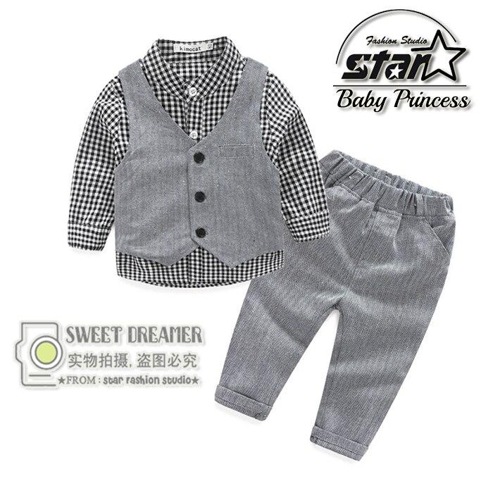 2016 Spring New Baby Boy Clothing Sets Children Tie Vest Blouse+ Pants Kids Cotton T-shirt Two Piece Suit Plaid Trousers