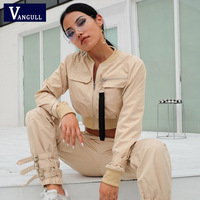 Vangull 2019 Spring Autumn Fashion Women Two Pieces Sets Crop Tops Cargo Pants Female Casual Sets Buckle Streetwear Jacket Pant