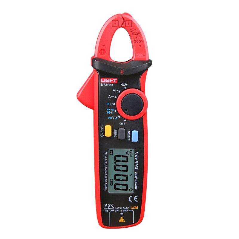 UT210D Digital Clamp Meter Medición de temperatura Rango automático multímetro de capacitancia AC/DC tensión corriente resistencia