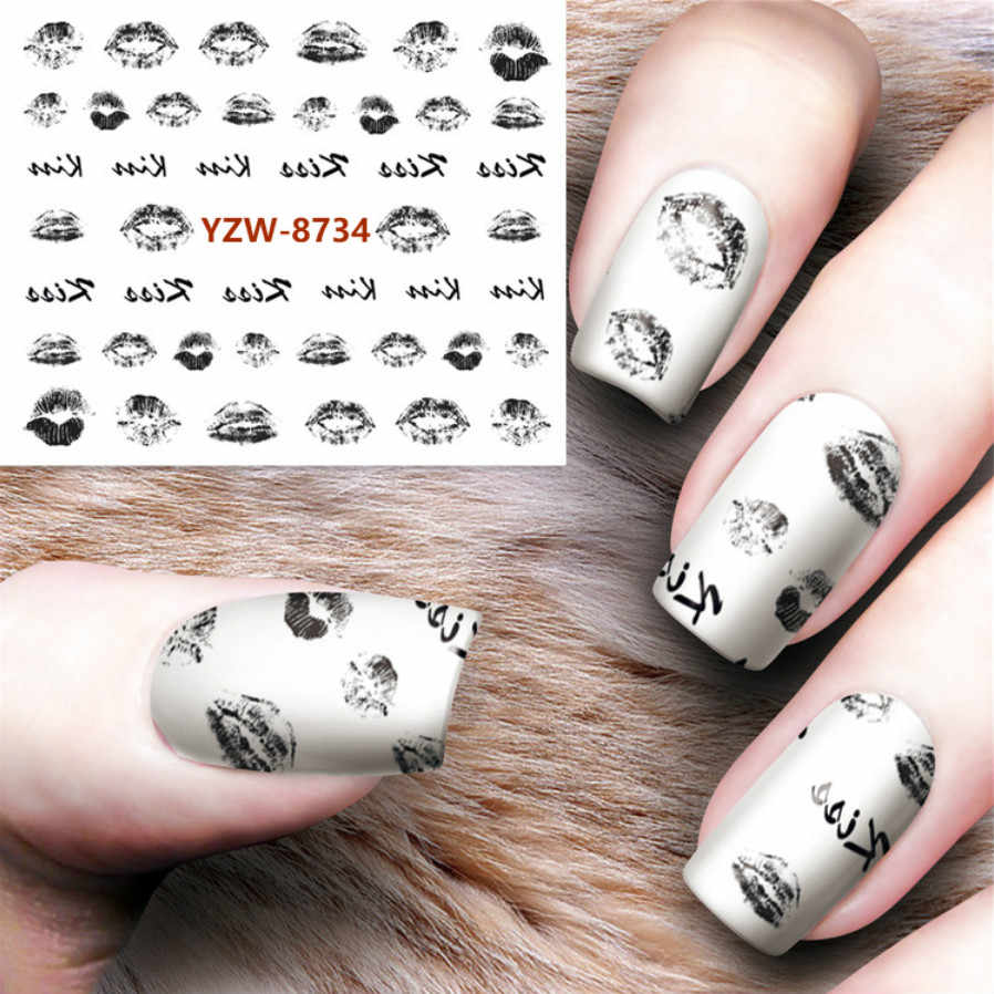 1pcs 9 Designs Nail Sticker Set Black Feather Graffiti Lip Print Feather Decal Water Transfer Slider For Nails Art Decor Y8734