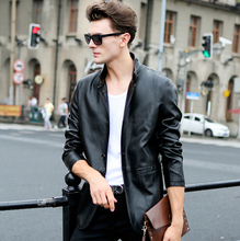 New Spring Autumn High-grade Quality Leather Jacket Men Casual Stand Collar Jaqueta de Couro Color Black/Coffee Big Size 3XL