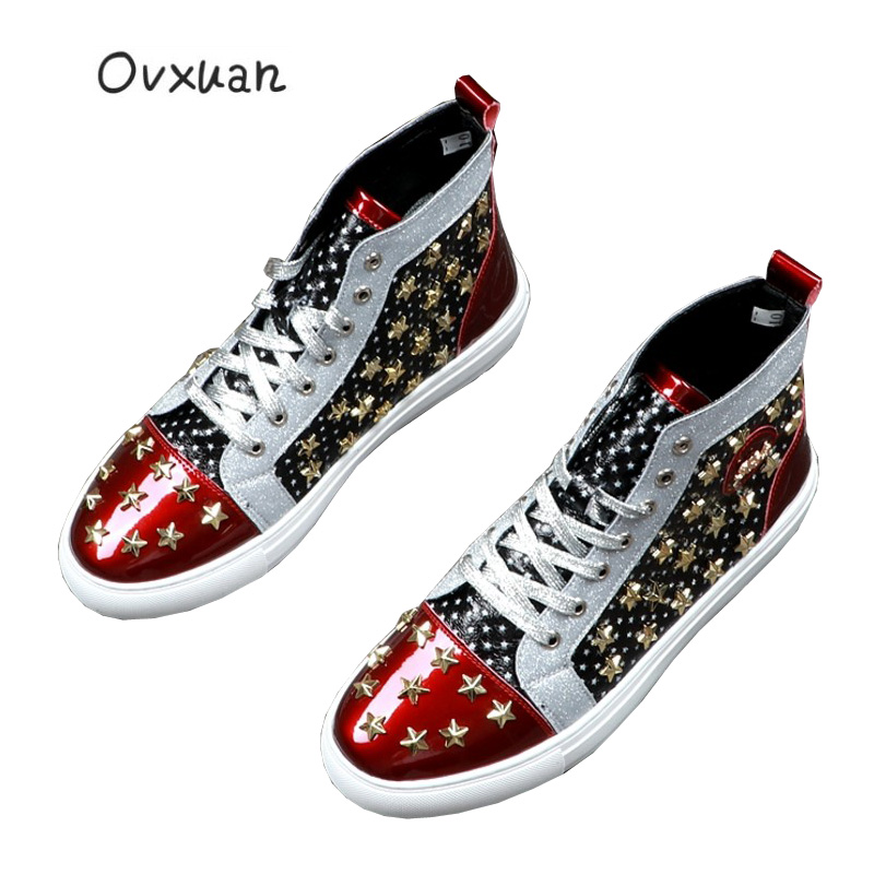 OVXUAN Patent Leather Pentagram Star Rivet High Top Martin Boots Men Luxury Brand Mens Dress Boots