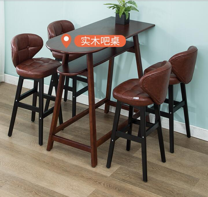 Solid Wood Bar Chair Modern Simple Bar Chair Back Stool Bar Stool Front Desk Cashier High Chair Household.