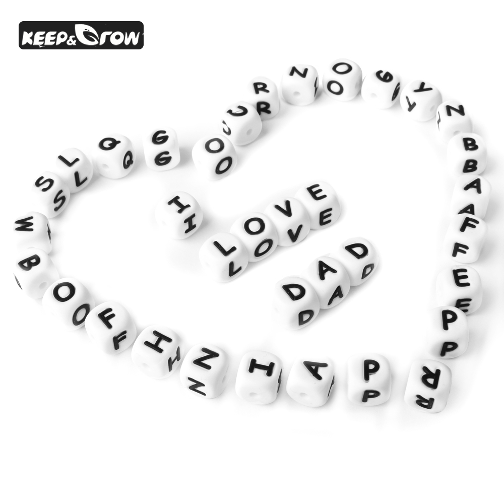 KEEP&GROW 50Pcs/lot Letter Silicone Beads 12mm Food Grade Silicone Beads Baby Teether DIY Pacifier Pendant Baby Jewelry Making