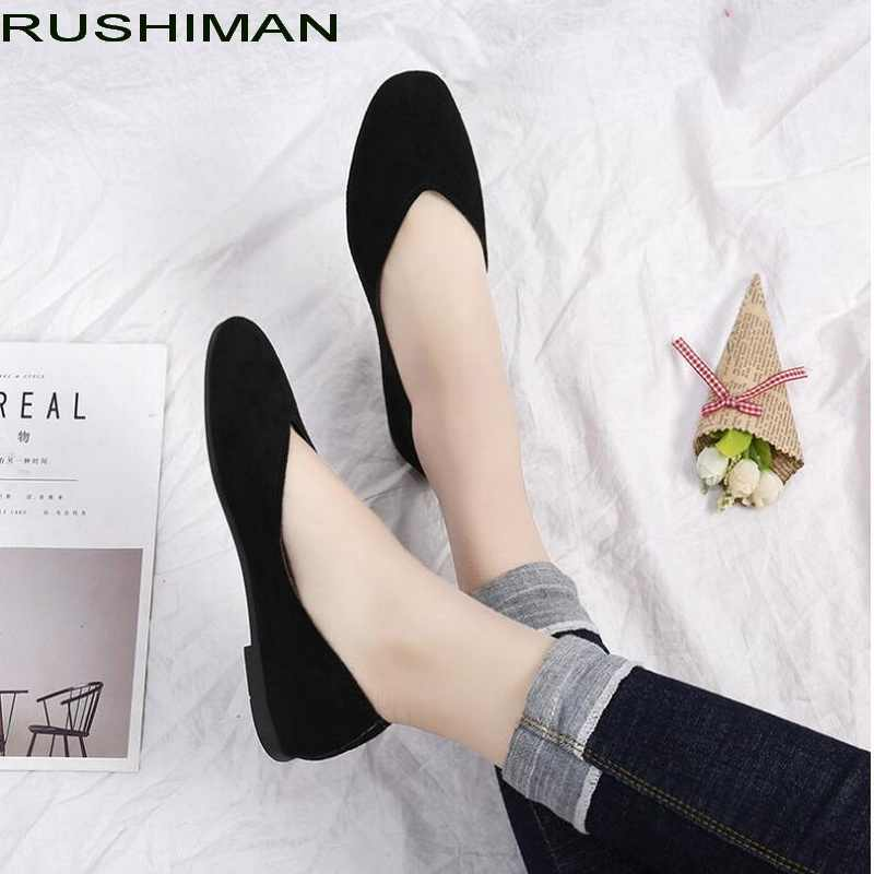 2018 new women fashion flat Flock square head work shoes retro comfortable slip on flats 6 colors plus size 35 - 42