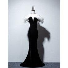 New Ostrich feather Black Velvet Off The Shoulder Mermaid Long Vestidos De Festa Lace Up Celebrity Evening Party Dresses