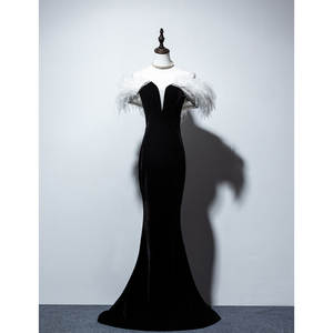 Evening-Party-Dresses Celebrity Mermaid-Long New Black Velvet Lace-Up Ostrich Vestidos-De-Festa