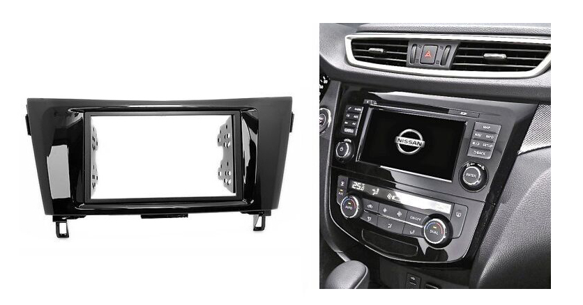Double Din For NISSAN X-Trail Qashkai 2014+ Radio DVD Stereo Panel Dash Mounting Installation Trim Kit Face Frame Fascia