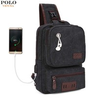 VICUNA POLO USB Cable Leather Men Messenger Bag With Headphone Hole High Quality Crossbody Shoulder Bag