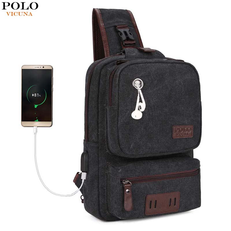VICUNA POLO USB Cable Leather Men Messenger Bag With Headphone Hole High Quality Crossbody Shoulder Bag Casual Chest Sling Bag