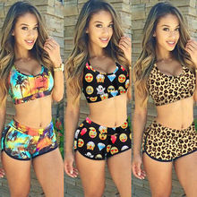 Women Quiet Sports Padded Bikini 2017 Swimsuit High Waist Swimsuit Trunks Bikini Bottom Vintage Print Push Up Padded Bikini Set