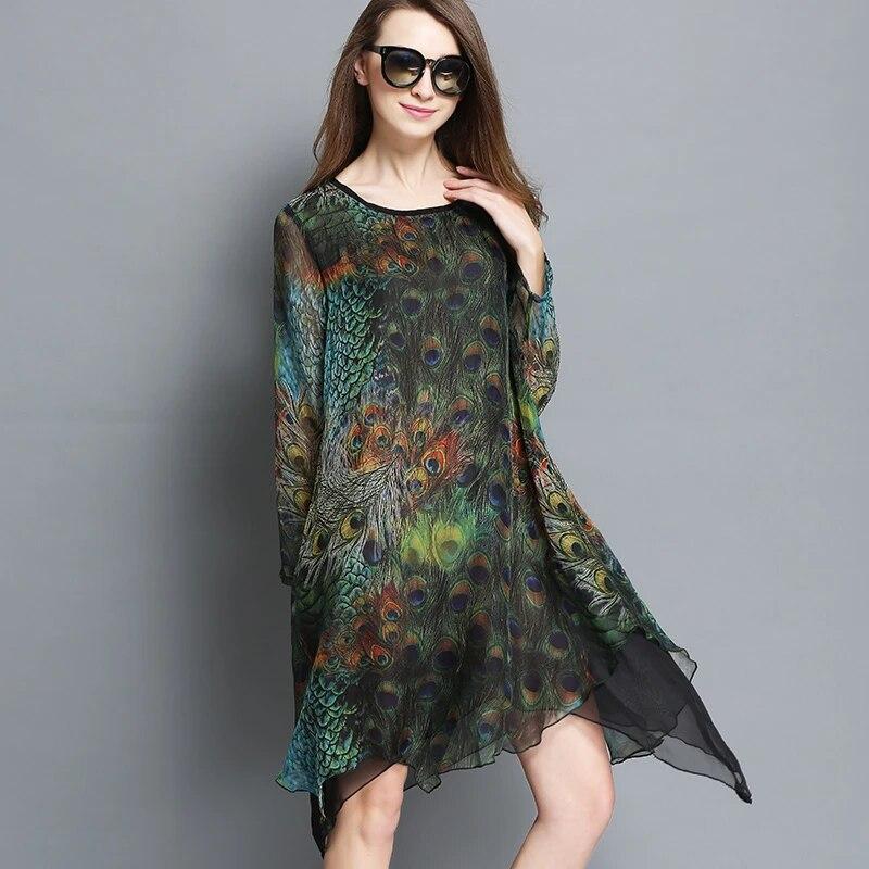 New 2016 Spring Women Elegant Dress Irregular Plus Size Peacock Printed Silk Wrinkle Dress Asymmetrical Vestidos Xxxxl 8986 Women Elegant Dresses Dress Asymmetricalelegant Dress Aliexpress