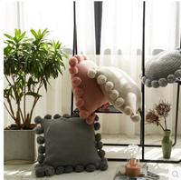 Nordic style Solid color wool balls cushion cover knitted pillowcase decorative pillow covers household