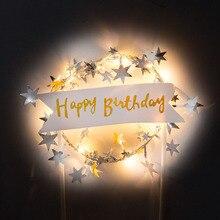 Торт Топпер с днем рождения светодиодный свет топ для детей Романтические звезды гирлянда Флаг Свадебные украшения детский Душ Баннер Вечерние