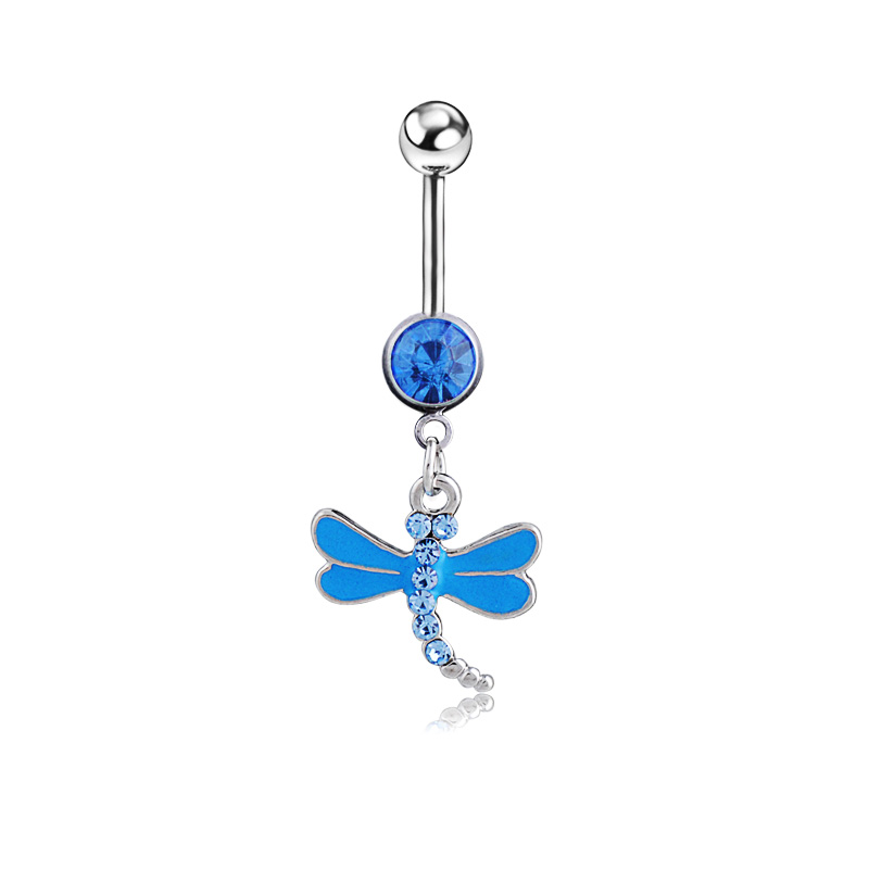 Zircon Dragonfly Body piercing belly button ring Navel jewelry Retail belly bar 14G 316L surgical steel bar Free shipping