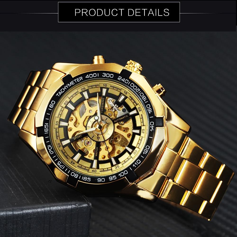 Winner Watch Men Skeleton Automatic Mechanical Watch Gold Skeleton Vintage Man Watch Mens FORSINING Watch Top Brand Luxury 12