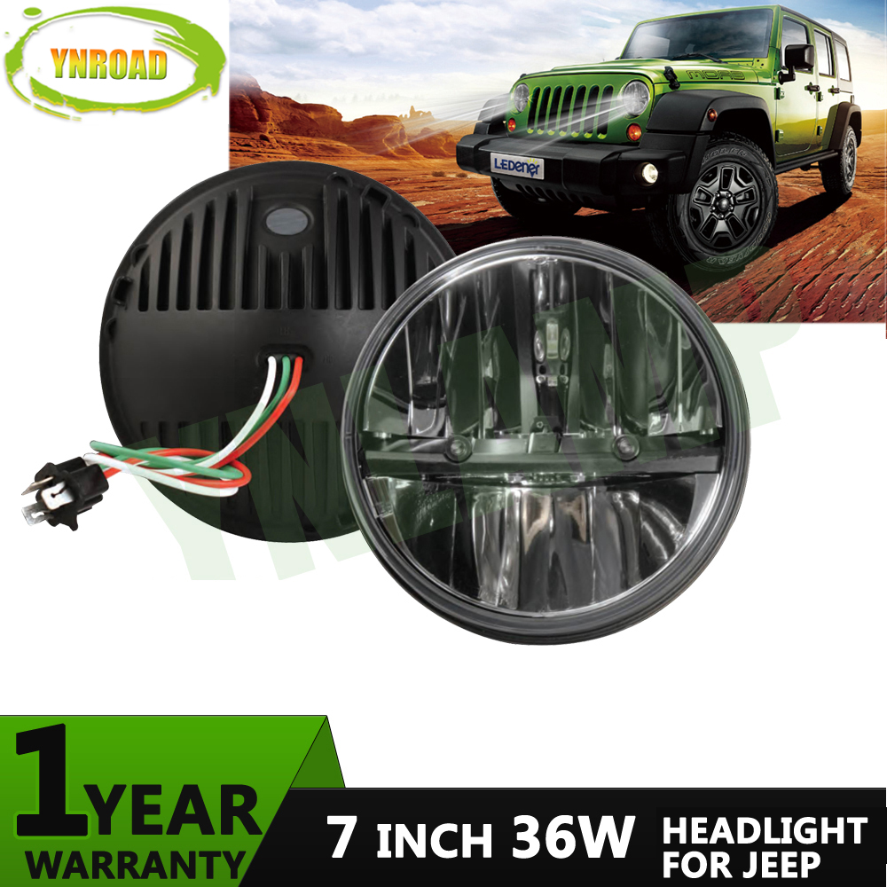 YNROAD Pair 36W Hi/ Low Beam 7 inch Round LED JK headlight light off road light new design 2100LM