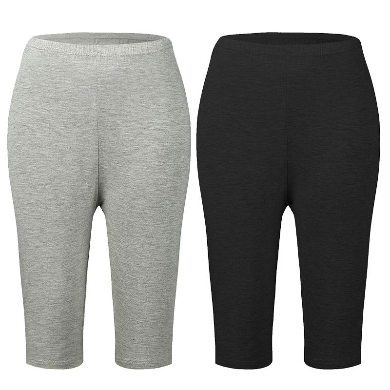 Plus Size Bamboo Fiber Leggings Elastic High Waist Leggings Workout Push Up Fitness Legging Summer Leggings Short Big Size 7xl
