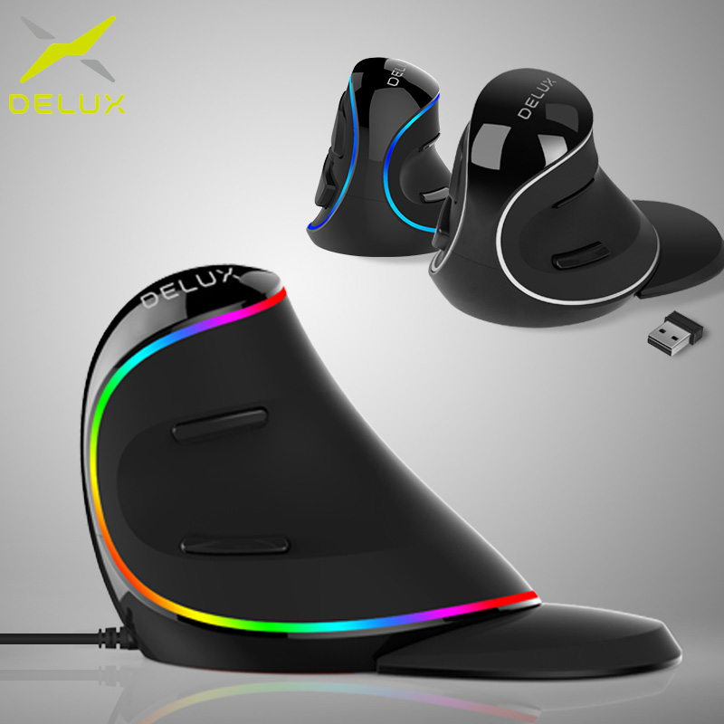 Delux M618 PLUS Ergonomics Vertical Gaming Wired Mouse PC wit Laptop 6 Buttons 4000 DPI Optical RGB Wireless Right Hand Mice ForDelux M618 PLUS Ergonomics Vertical Gaming Wired Mouse PC wit Laptop 6 Buttons 4000 DPI Optical RGB Wireless Right Hand Mice For