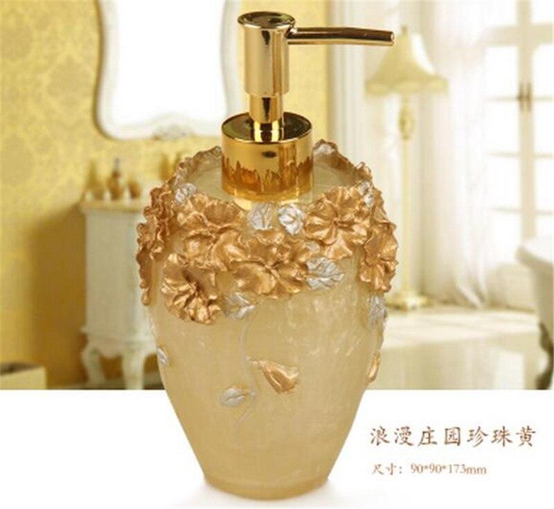Bathroom Soap Dispenser Set Vintage Rose Flower Soap Jar Lotion