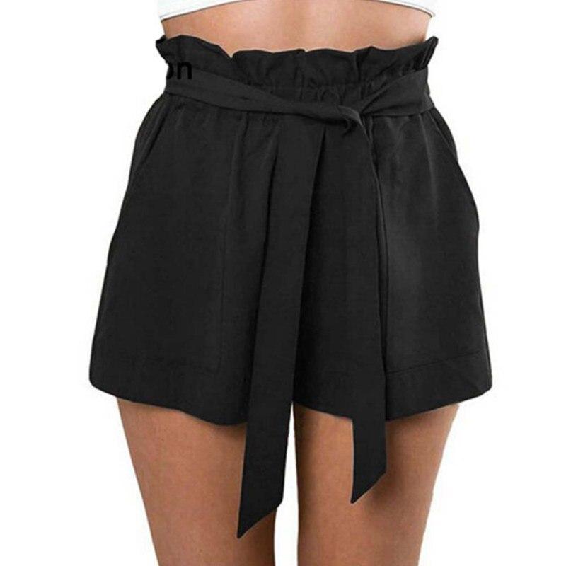Fashion Casual Shorts Women High Waist Loose Shorts Patchwork Fashionable Bow Short Pant Female Ruffle With Belt