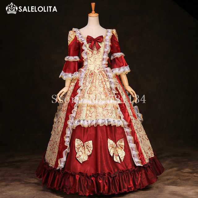 US $110 0  Brand New Red And Yellow Printed Lace Marie Antoinette Halloween  Costumes Renaissance Rococo Period Gowns For Women Customized-in Dresses