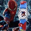 ГОРЯЧАЯ Мода человек-паук мультфильм смотреть дети часы дети мальчик cool 3d каучуковый ремешок кварцевые часы часы детские День Рождения Xmas подарков