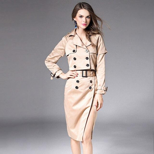High grade European British style fashion women sets double breasted cloak short lapel jacket zippers sashes hem fork skirt M101