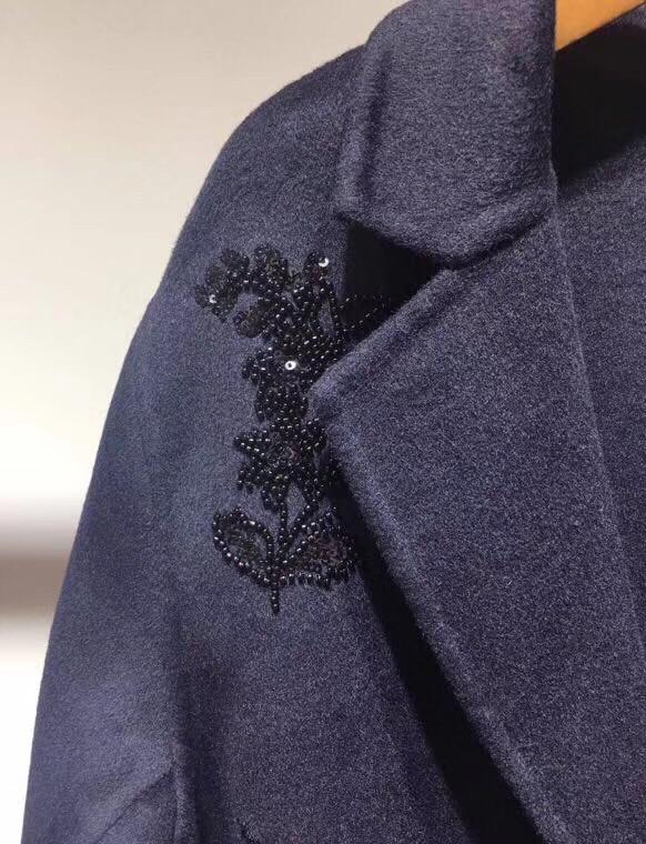 Automne De Double Longue Femmes Broderie Mode Droite D'hiver Manteau Et 2018 Lourde Nouvelle Fleur Face Ligne À Laine Perlée SzwTdxqg