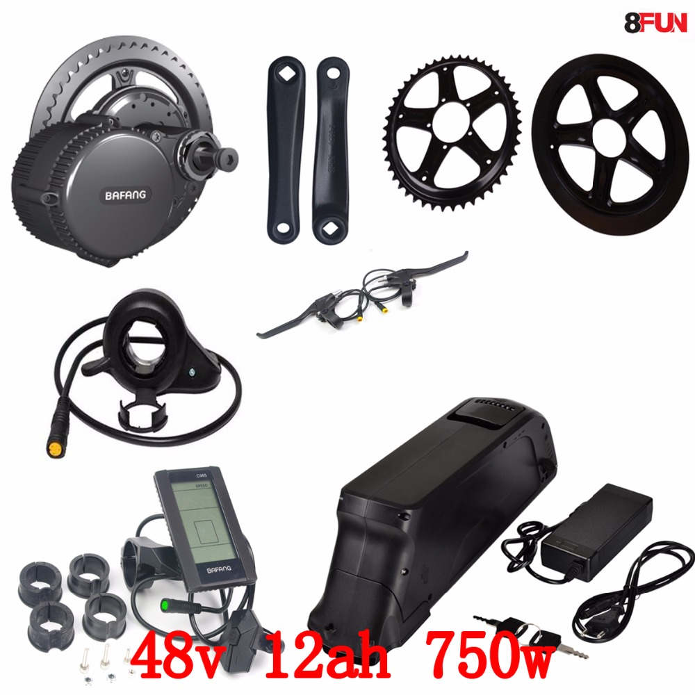 Bafang BBS02 48V 750W electric bike motor 8Fun mid drive electric bicycle conversion kit with 48v 12ah li-ion battery