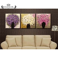 Unframed 3pcs White Purple Pink Flower Wall Art Picture Canvas Painting Modern Wall Painting By Numbers