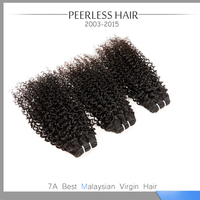 Top Quality Malaysia Kinky Curly Virgin Hair Peerless Hair Products 7A 3Pcs #1B Human Hair Extension Weave 12 To 28
