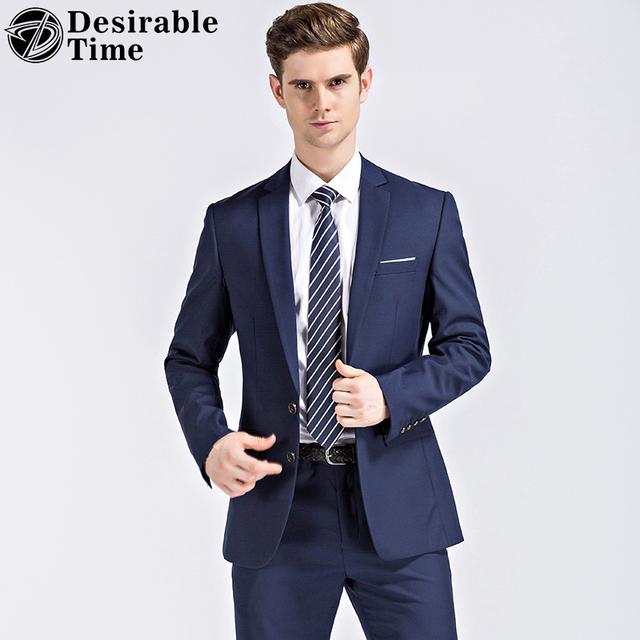 Jacket + Pants Mens Ternos Com Calças Azul Escuro e Preto 2017 Novo Terno de Negócio Slim Fit Festa de Casamento Clássico homens DT300